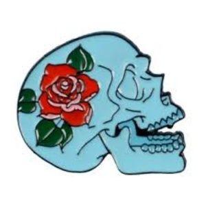Skull With Rose Enamel Pin